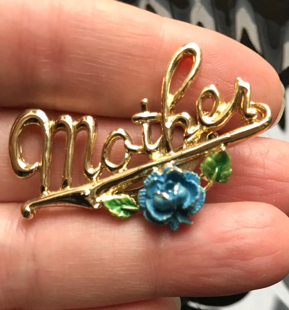 Mid Century Goldtone Mother Pin with Blue Enamel Flowers, Old Fashioned Country Charm, Sweet Gift for Mom