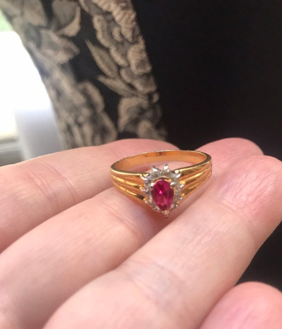 Pretty in Pink & Ice Rhinestone. Goldtone Birthstone Cocktail Ring