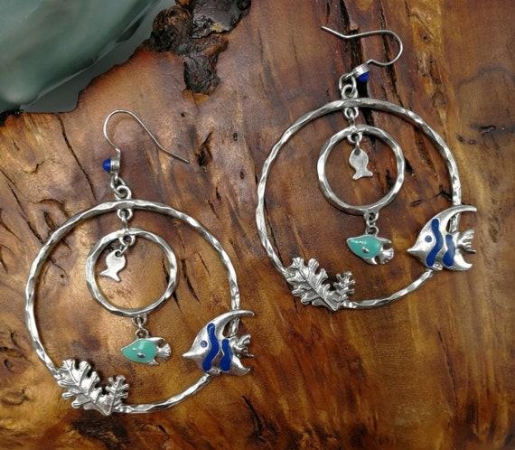 Huge Silver Hoops with Enamel Tropical Fish! Funky 70s Costume Jewelry Hoop Earrings