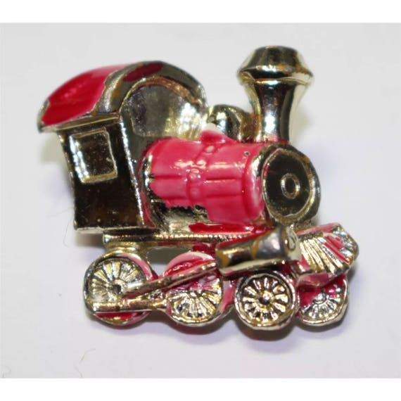 Vintage Little Engine that Can Train Gold tone & Red and Black Enamel mini Pin Brooch Lapel pin Scatter pin unisex button
