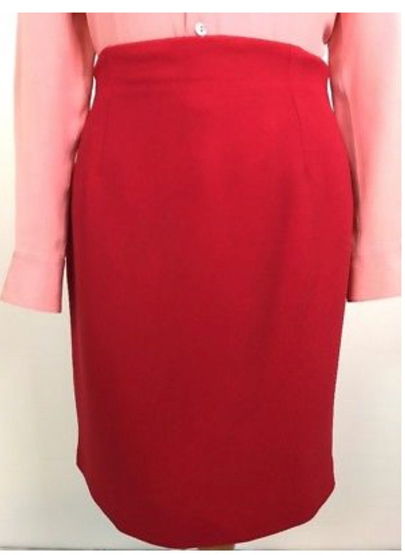 Classic and Classy Chic Minimalist True Red Halston Designer Pencil Skirt, Strike a Pose in Lipstick Red Skirt on Valentines Day Date Night