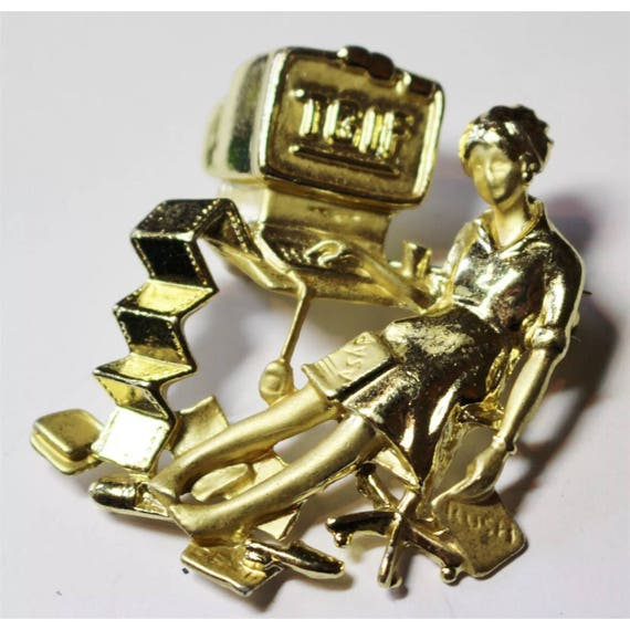 Vintage Goldtone AJC signature style TGIF Lady Sprawled out at her computer Brooch Pin
