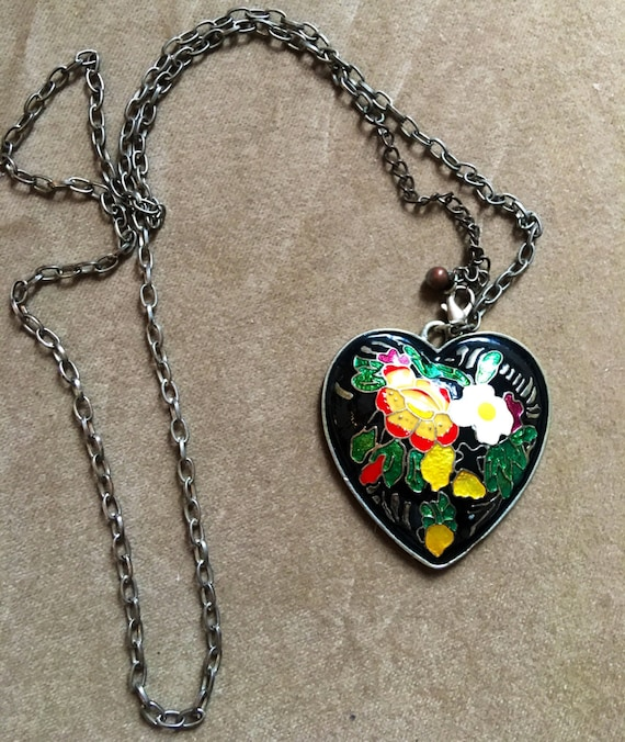 Elegantly romantic Cloisonné flowered puff heart pendant necklace