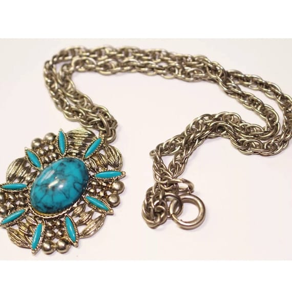 Vintage Southwestern Turquoise Costume Jewelry Necklace, Boho Gypsy Cowboy Styled Ornate Silvertone Pendant Necklace