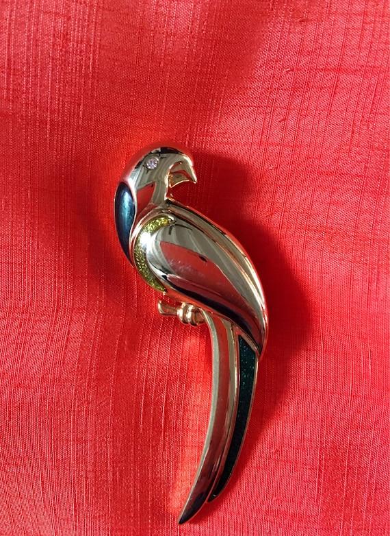 Signed Vintage Goldtone & Enamel Parrot Tropical Bird Brooch Pin