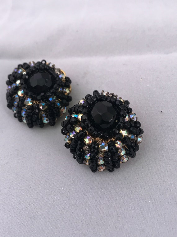 Beautiful Art Deco Beaded Black and AB Crystal clip on Cluster Earrings Signed