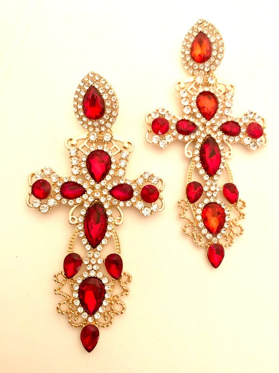 Huge Gothic Red Cross Dangles, Red Rhinestone Runway Glamour Jewelry, Statement Earrings
