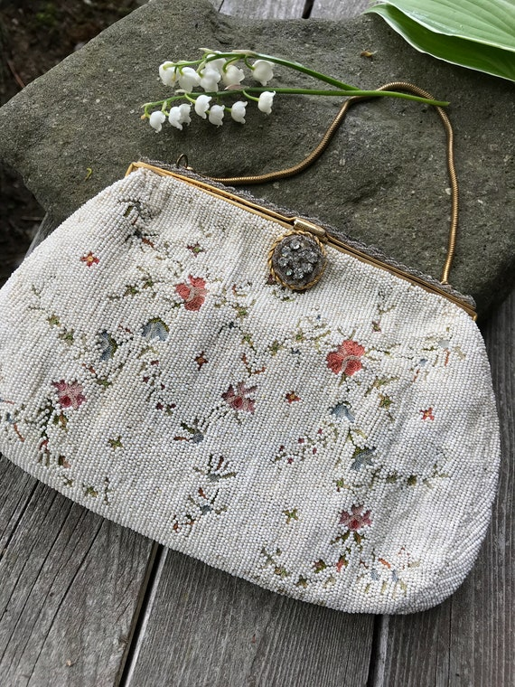 Absolutely Stunning Elegant Buttery Soft Micro Seed Beaded Tambour Embroidered Floral handbag clutch Made in France Beautiful Mint Condition