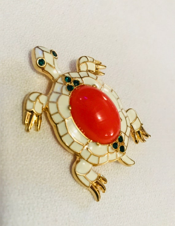 Creamy White TURTLE with Coral Cabochon Green Rhinestones & a Golden Shell- a Beautiful Enamel Pin! Resort Glamour Jewelry, Palm Beach Style
