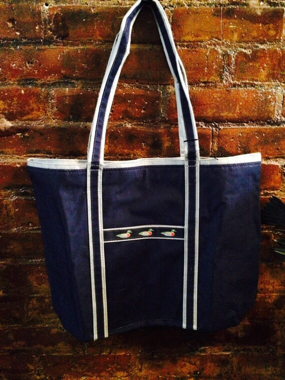 Preppy Navy Blue Duck ribbon tote bag unused Vintage Like New