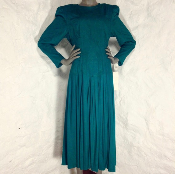 Vintage Marie St Claire Emerald Green Teal Embroidered Brochet 80's Midi Dress Size 14