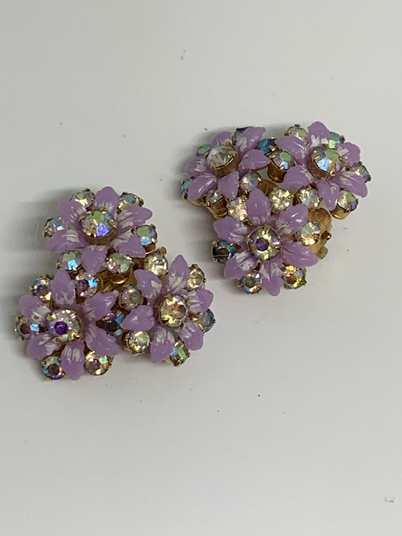 Dainty Bouquet Lilac Floral Earrings with Rhinestones, Trending Mid Century Vintage Jewelry, 60s Costume Jewelry Clip On Earrings