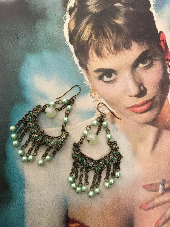 Pretty Pale Green Beaded Bronzy Goldtone Chandelier Earrings