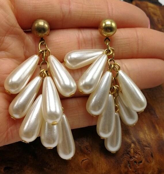Ivory Pearl Teardrop Tassel Dangles, Now Trending 90s Glamour Jewelry Statement Earrings