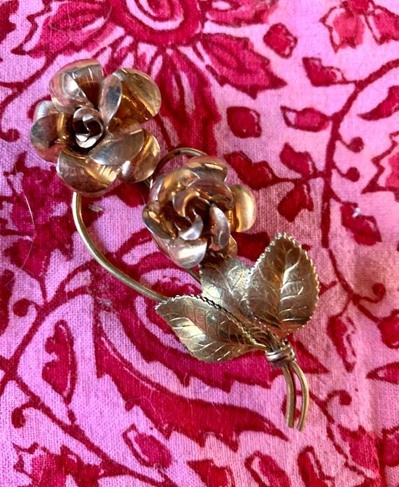 Vintage Kremetz Rose Spray Pin, Layered Gold Plate Elegant Floral Unisex Lapel Pin, Prom Wedding Jewelry, Golden Rose Corsage or Boutonnièr