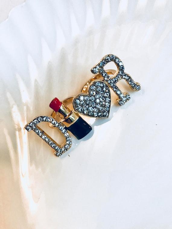 Rhinestone & Enamel Two Finger Dior Lipstick Glamour Promo Ring
