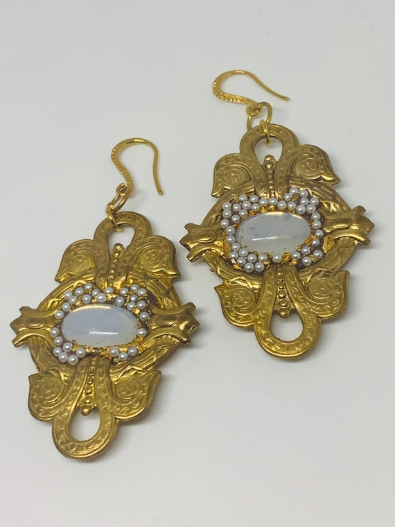Amazing Gay Isber Designer Moonstone Statement Earrings! One of a kind! Gorgeous Gothic revival Art Nouveau Mash up!
