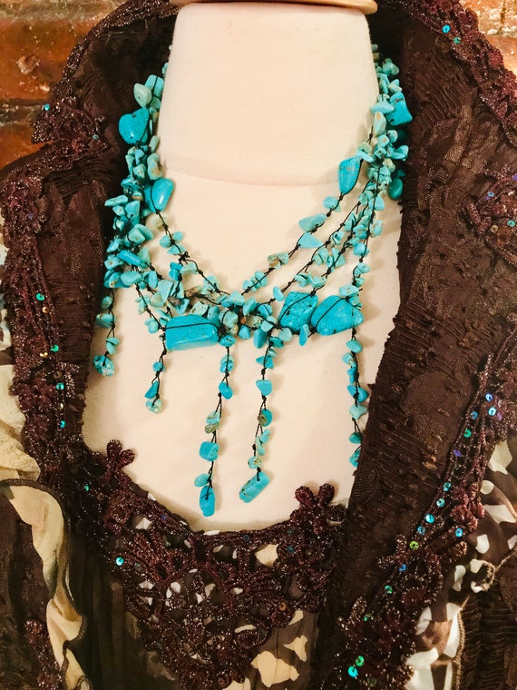 Artsy Handmade Turquoise Blue Pollished Stone on Black Thread Dangly Drippy 90s Boho Glamour Grunge Funky Nakamol Statement Necklace