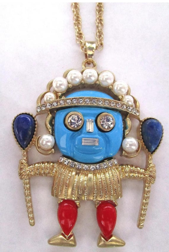 Vintage Tiki Warrior Voodoo God Pendant, vibrant blue lucite with rhinestones & pearls on goldtone chain- amazing enough for any Goddess