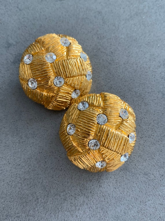 Natori Knotty Statement Earrings, Sophisticated Matte Goldtone Sprinkled with Rhinestones, 80s Designer Glamour Jewelry