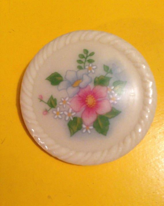 Avon porcelain Floral Transfer Pin, Vintage Brooch
