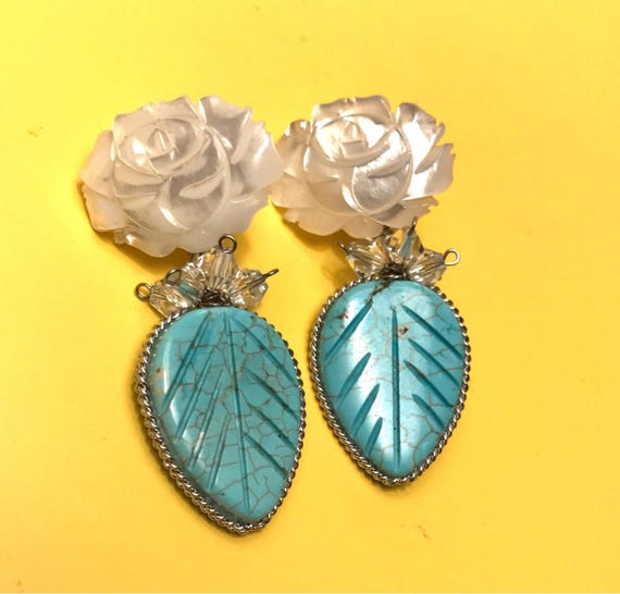 Stunning Carved blue art glass Leaf with Mother of Pearl Roses with tiny crystal bead embellishment Drop & Dangle Earrings so Pretty