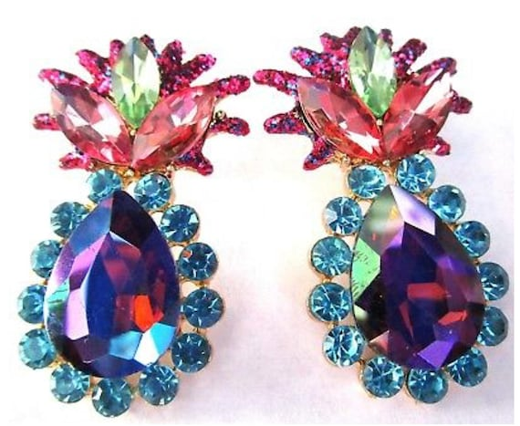 Beautiful Pink Blue & Heliotrope Rhinestone Earrings