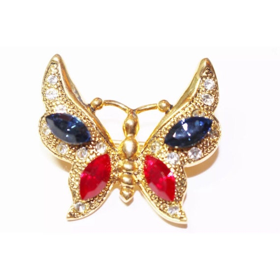 Beautiful Vintage goldtone Butterfly with Red White & Blue Gems brooch pin