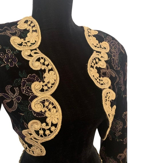 Scott McClintock Black Velvet Bolero Jacket with Elegant Gold Lace and Metallic Floral Embezzlement Size 4 - holiday & ball season perfect!