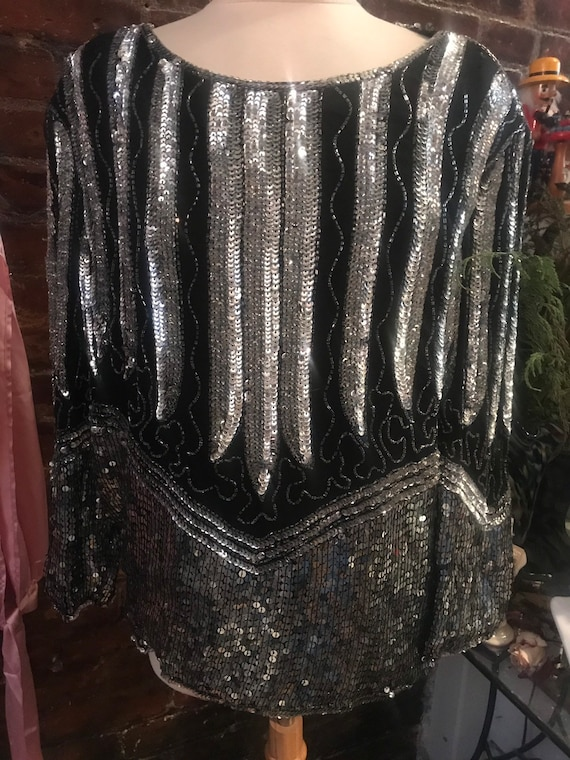 AS IS  90s still great Sequin Top Blouse  - Blacks and Silvers -Some minor Bead Loss -needs a bit of TLC - fun Party Top- lots of wear still