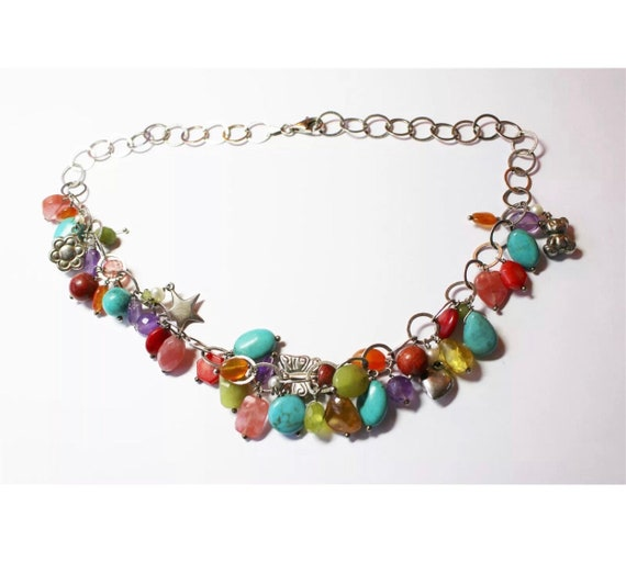 Italian Vintage Charm Necklace Choker, Rainbow polished stones gems crystals & charms on a 925 Sterling Silver Chain
