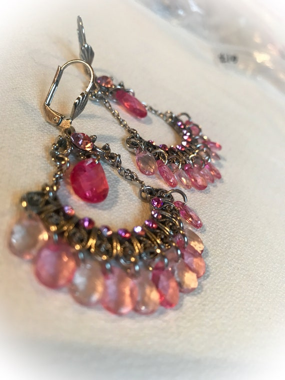 Glamorous Pink lucite Crystal & Rhinestone Chandelier Earrings, Pretty in Pink Prom Perfect