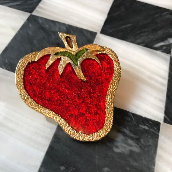 Sassy Vintage Kitsch Poured Stained Resin on Goldtone & Red Strawberry Brooch Pin