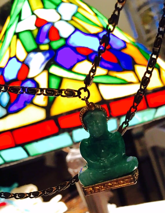 Vintage Peking glass green jade colored Buddha Pendant -very old & interesting piece