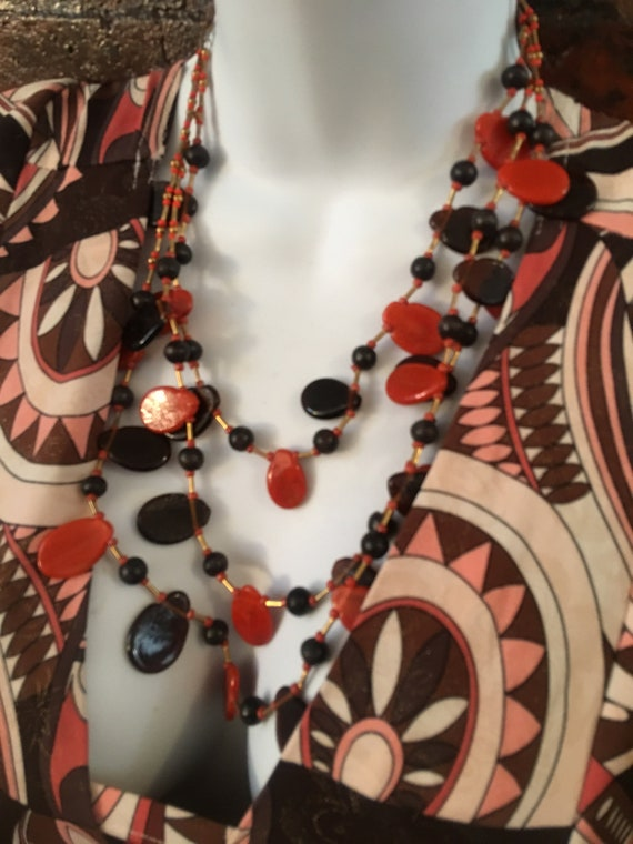 Vintage Boho Rust Orange Brick Red Art Glass Collar Necklace, Mid Century Muli Strand Glass Beaded Statement Necklace