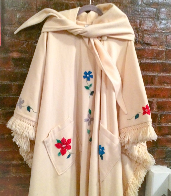 SALE Vintage ivory cream long wool cape with stunning colorful Floral appliques & rhinestone studs, unlined medium weight Autumn Coat Cape