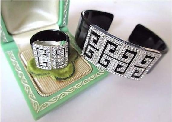 Art DECO Ice Rhinestone & Black Lucite Cuff Bracelet, High End 90s Glamour Jewelry with Modernist Geometric Greek Key like pattern