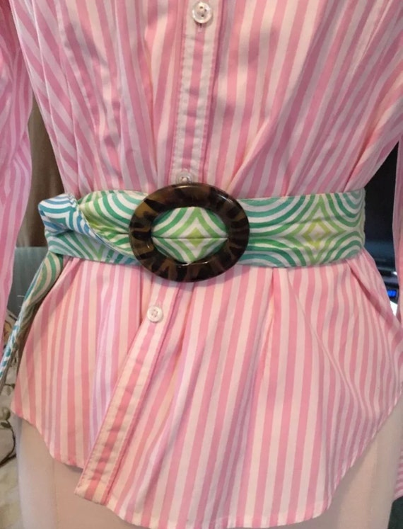 Bue Dragonfly ~ fabric designer belt ~ green stripe TORTOISE BUCKLE ~ sz L