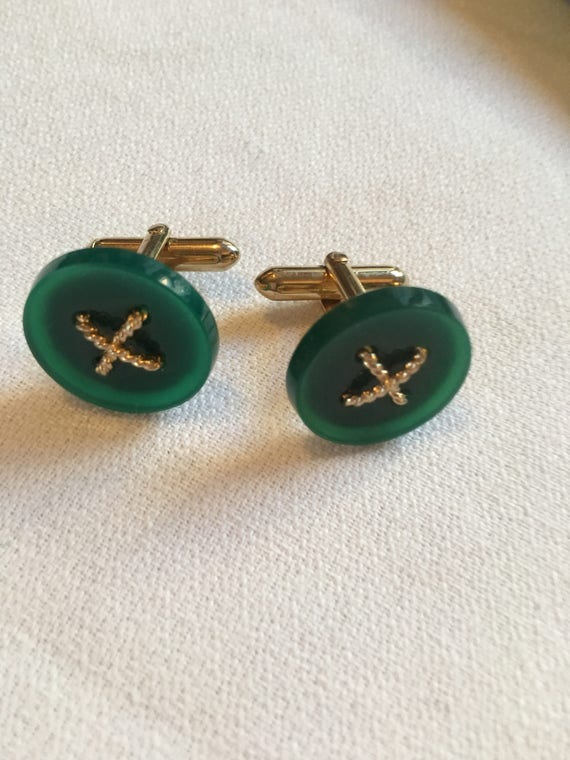 Vintage Mid Century Cufflinks, Jade or Jadite  & Goldtone Asian Siam Styled Elegant Modernist Cuff Links, Dapper man