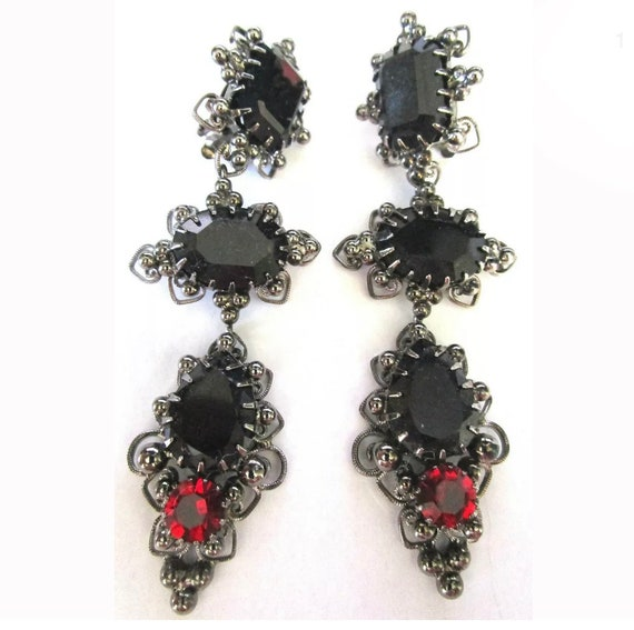 Dramatic Gothic Marie Ferra Red & Black Dangle Statement Earrings, Vintage 80s 90s Glamour Jewelry