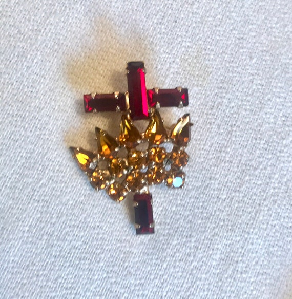 Mid Century Vintage Gothic Revival Red Gem Cross and Golden Gem Crown Lapel Scatter Pin
