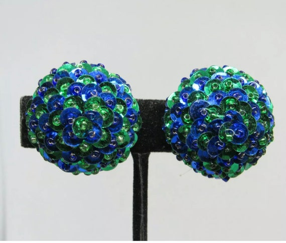 Jazzy Blue & Green Sequin Earrings, Shimmering Dome Button Vintage Clip ons in this seasons trending colors !