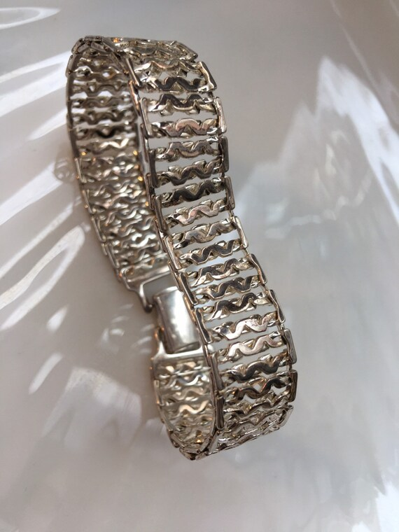 Vintage Monet Shiny Silver Chain Link Cuff  Bracelet, Signed 70s Disco Glamour Jewelry Bling
