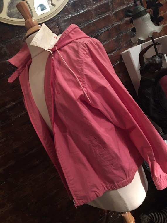 80s Fashion Vintage Christian Dior Art Deco Salmon Coral pink all weather hooded wind breaker sailing jacket rain coat