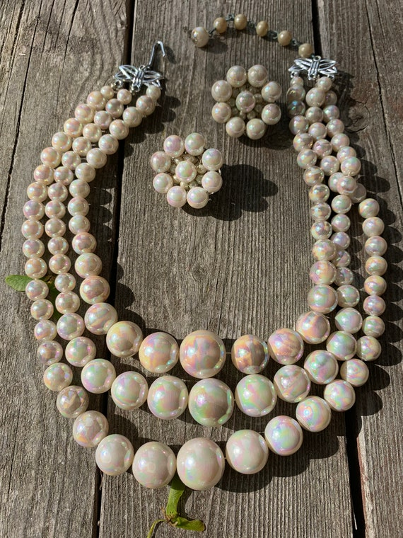 Vintage Rainbow White Iridescent Multi Strand Beaded Statement Necklace with matching Earrings , Japanese Mid Century Jewelry