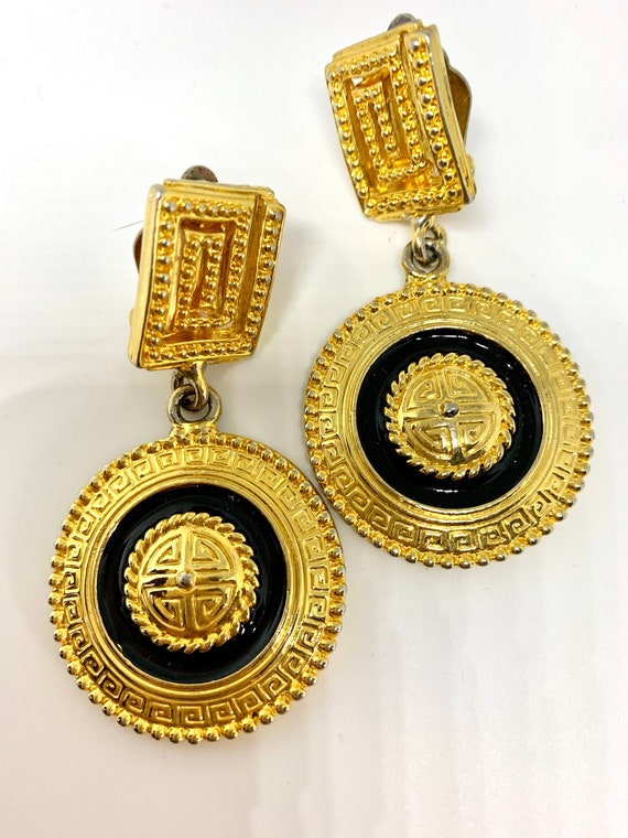 Vintage Black and Gold Greek Key Statement Earrings, Early 90s Costume Jewelry, Supermodel Era Big Bling Clip on Dangles