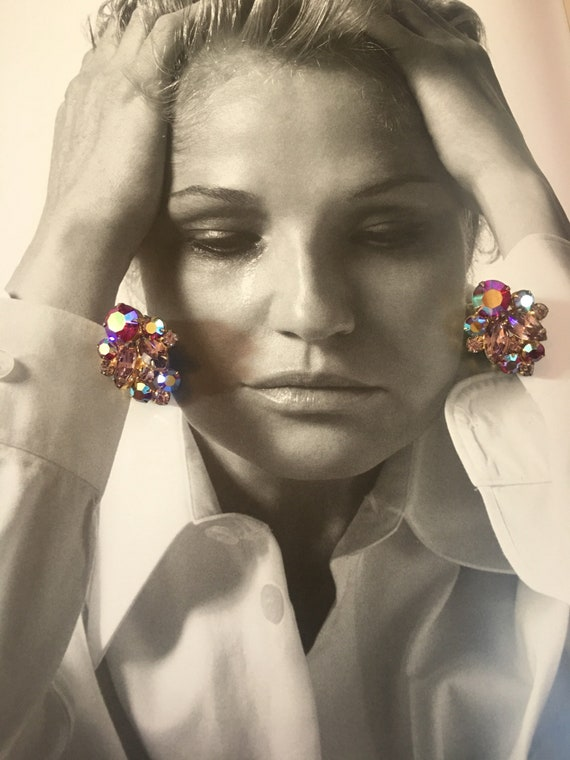 Juliana Style Aurora Borealis Crystal Statement Earrings with Deep Pink & Pale Lavender navettes  and Ice Rhinestones, Vintage Clips ons