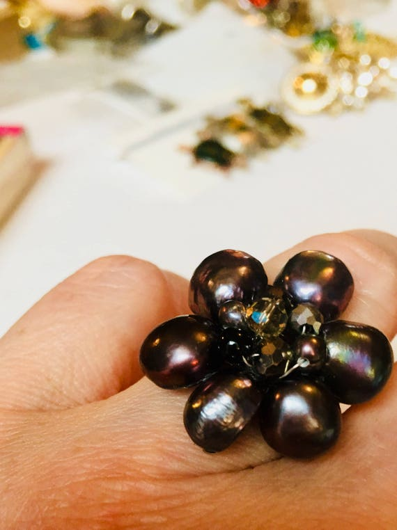 Vintage Black Water Pearl Cluster Bead Floral Adjustable Ring,  A Great Feel Good Gift