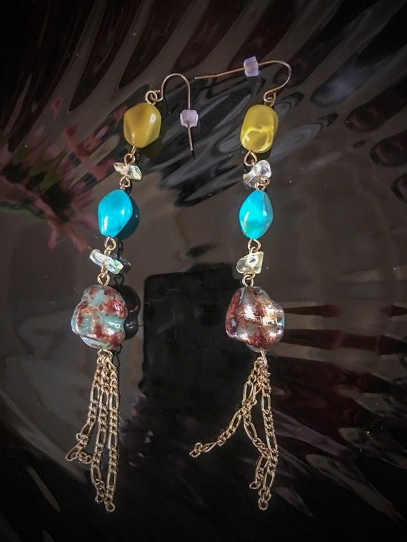Sexy Shoulder Duster Dangle Earrings w/ Turquoise Lime Crystal & Faux Stone Faux Stone Beads and Bronze Chain Tassels, 90s Glamour Jewelry