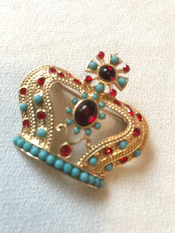 Regal Vintage 80'S Glamour Red and Turquoise MOGUL Royal Crown Pin Brooch, Prom King and Queen